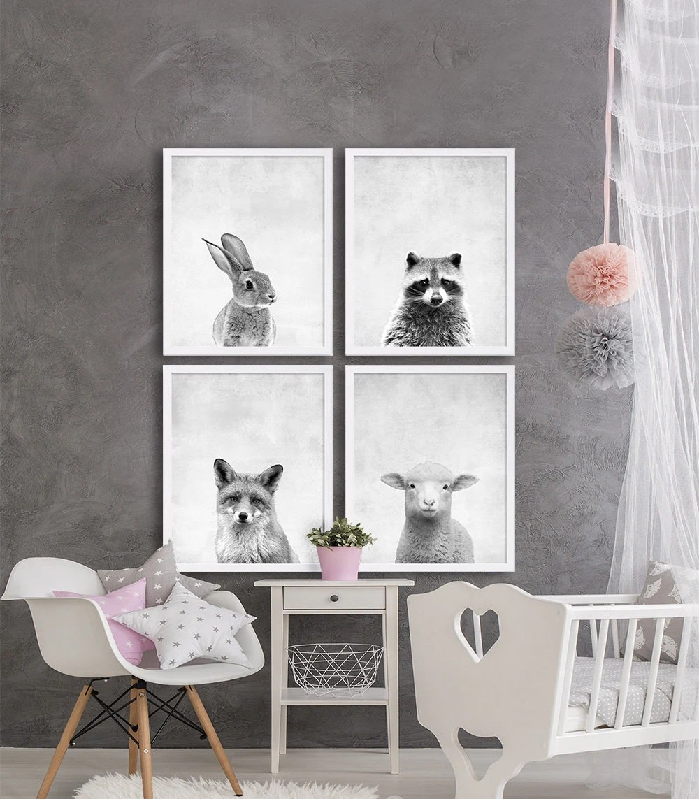 Woodland Animal Nursery Prints Animal Nursery Art Grey Nursery