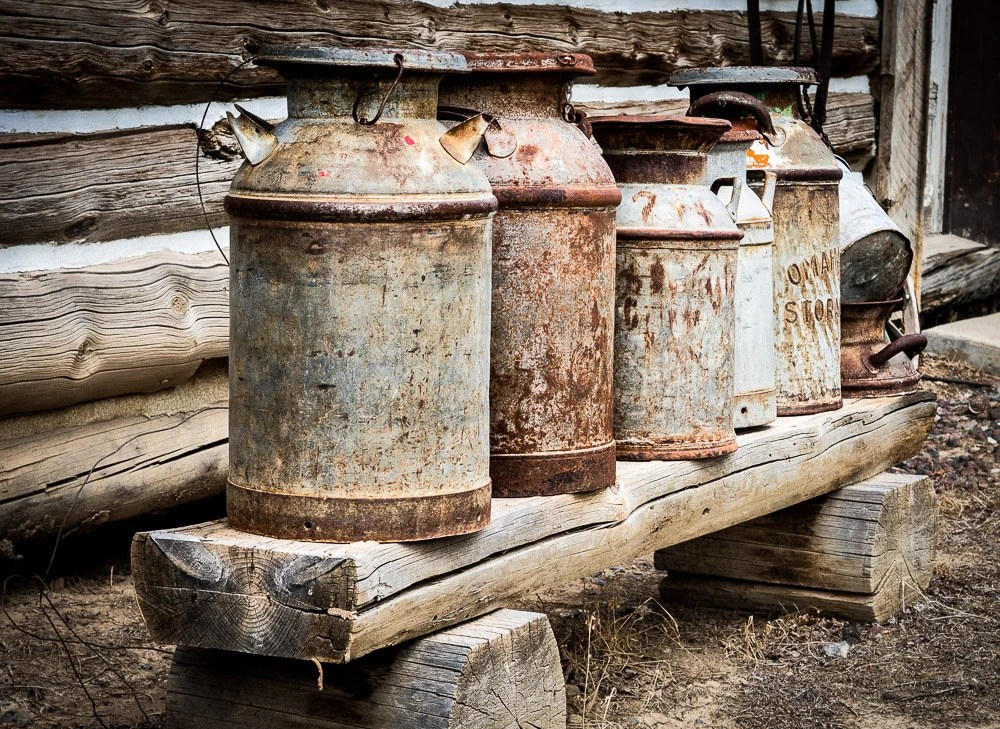 Antique Milk Cans Fine Art Photography Print Rusted Cans