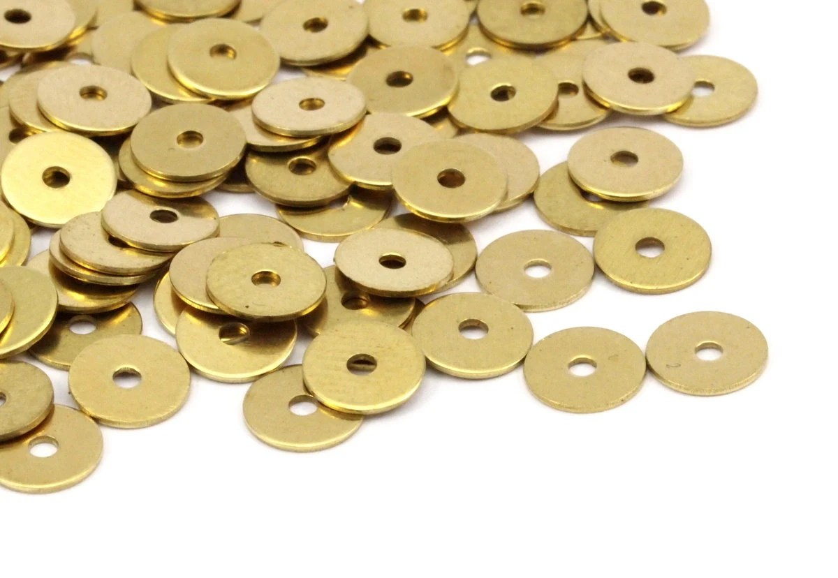 Middle Hole Connector 250 Raw Brass Round Disc Middle Hole