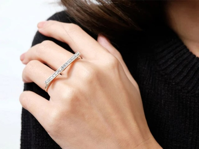 Sovats Women Custom Two Finger Ring Minimalist Retro Statement     double finger band ring cz  adjustable ring  double band ring  double bar  ring  double finger ring  two finger ring  double rings