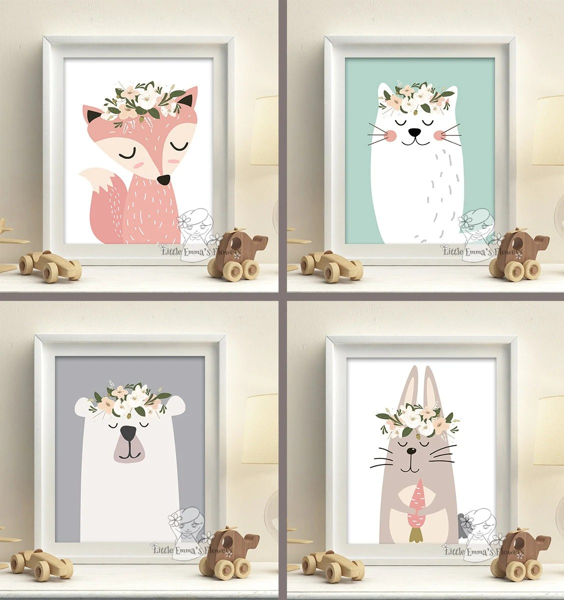 Woodland Animals Nursery Art Prints set pastel colors baby
