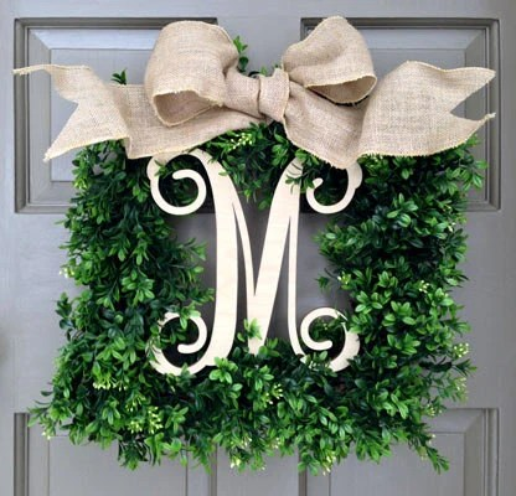Monogram Square Faux Boxwood Wreath 1-Italics-Natural