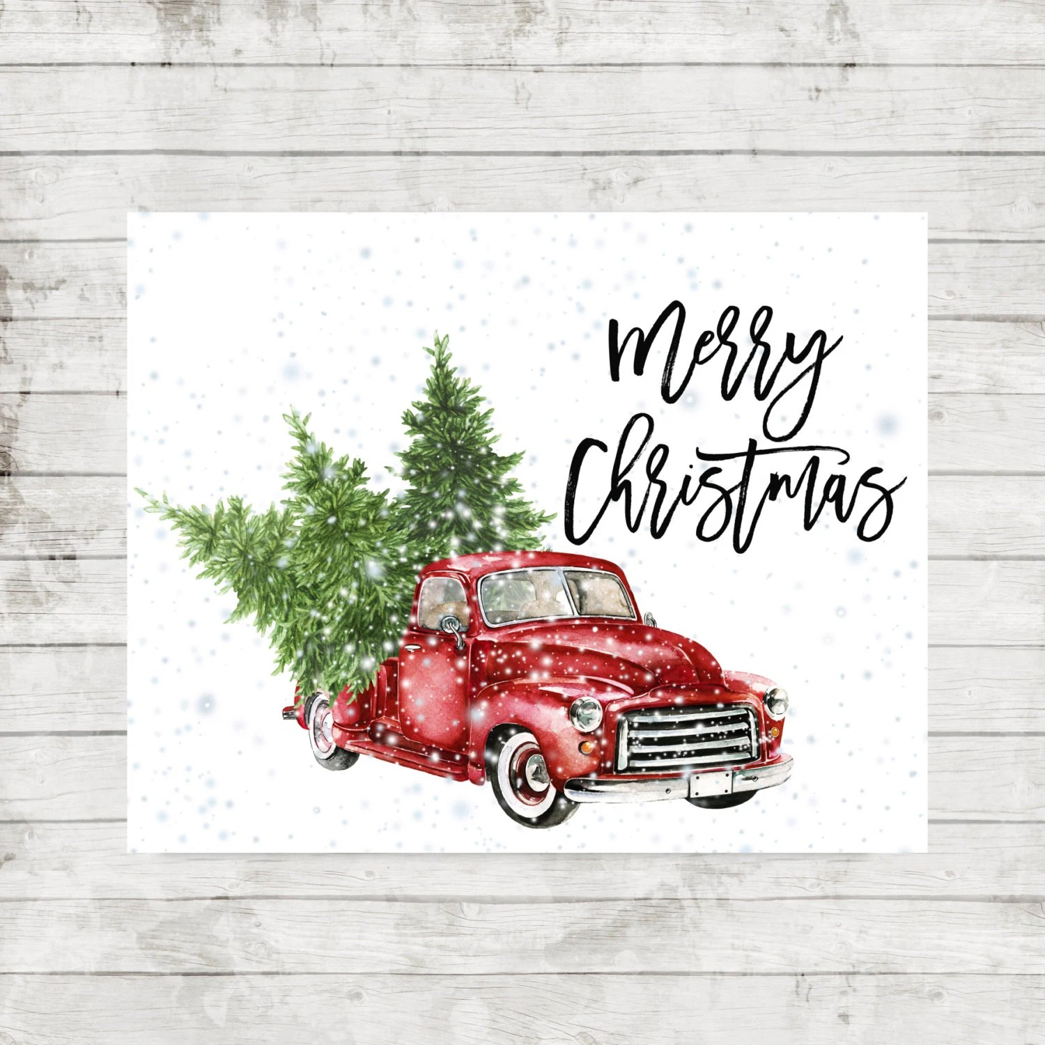 Vintage Christmas Tree Red Truck Printable