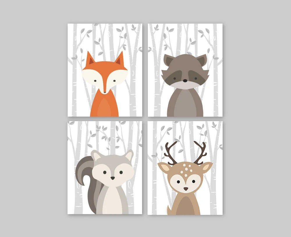 Forest Animal Set Woodland Nursery Wall Art Print Baby Fox