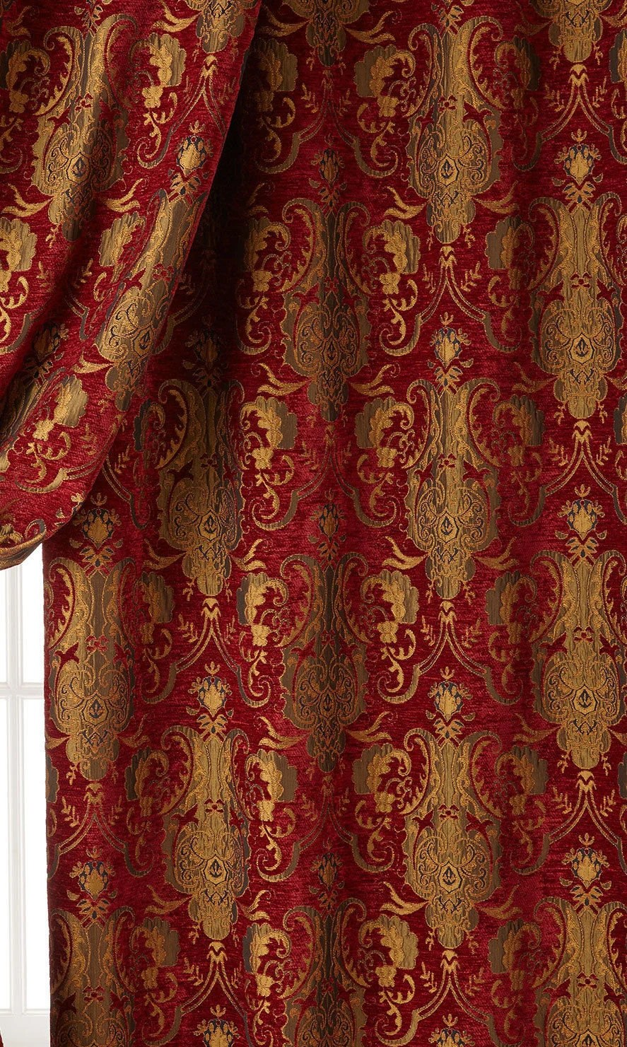 Red Damask Upholstery Fabric