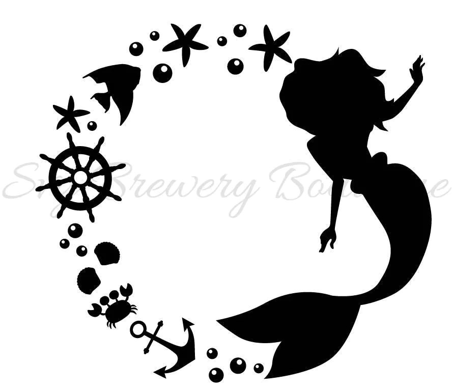 Monogram Black Frame Mermaid