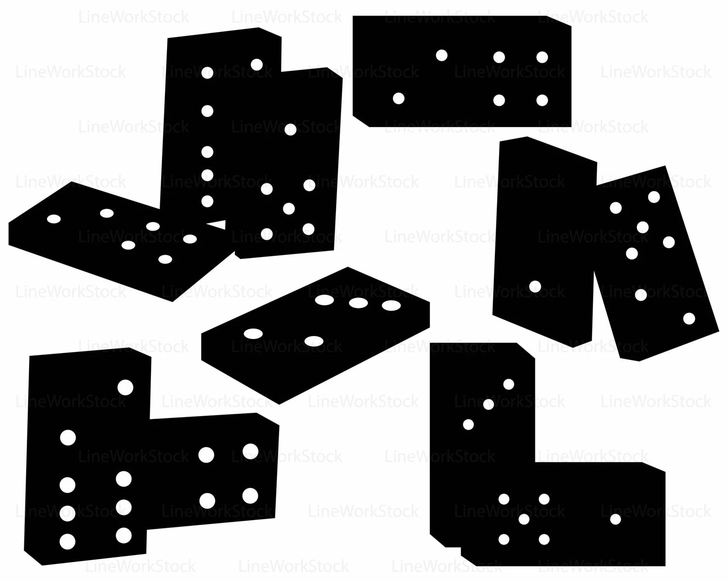 Art And 5 Clip Black Domino 1 White And
