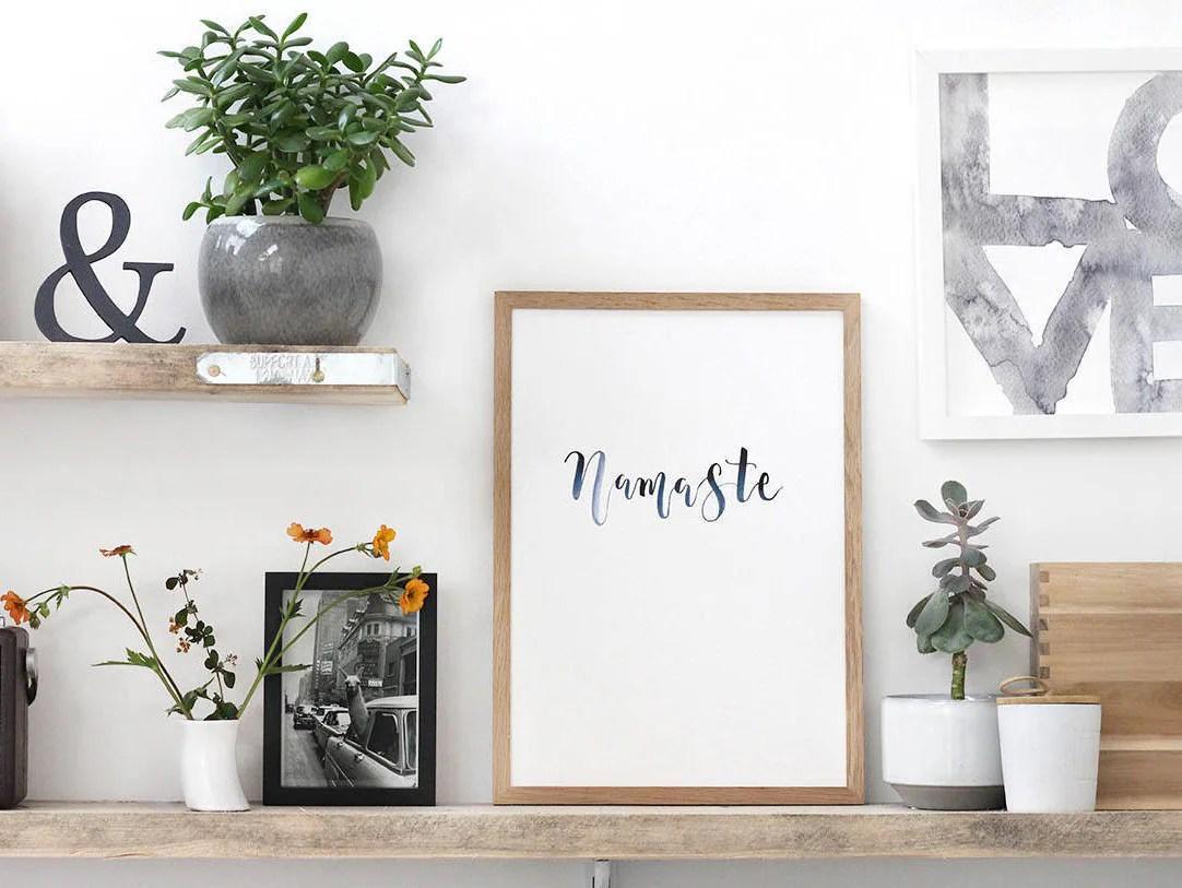 Yoga Namaste art print. Yoga studio decor. Namaste wall art.