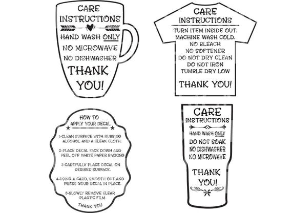 Outline Tumbler Care Card