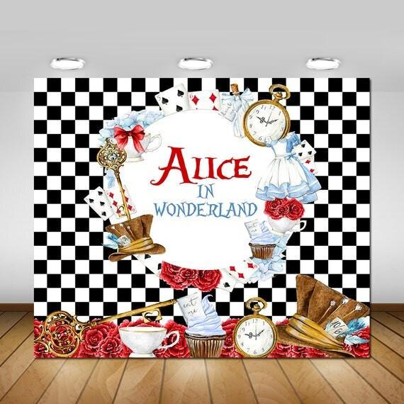 Backdrops Alice Wonderland Baby Shower