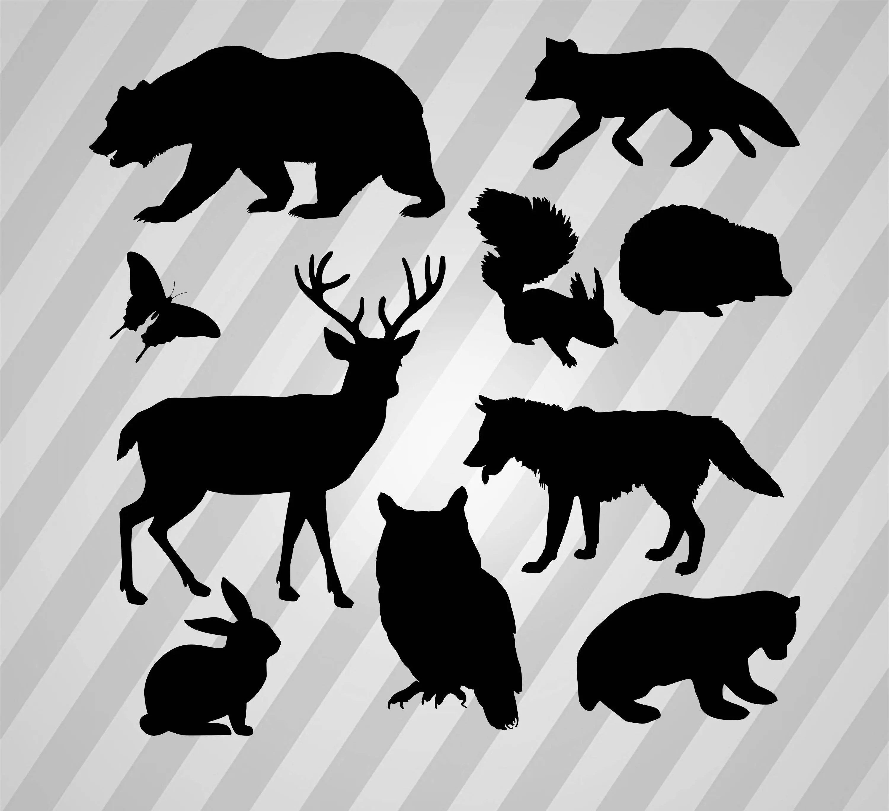 Woodland animals silhouette Svg Dxf Eps Silhouette Rld