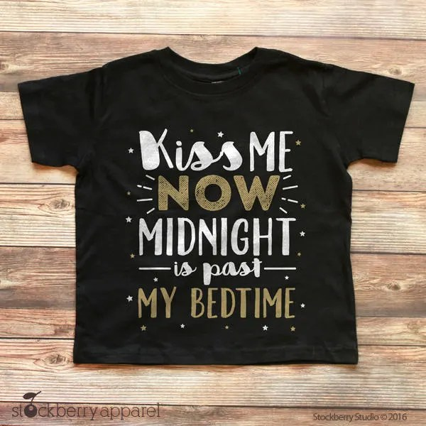 New Years Shirt Kids   Kiss Me Now Midnight is Past My Bedtime     Il 570xn