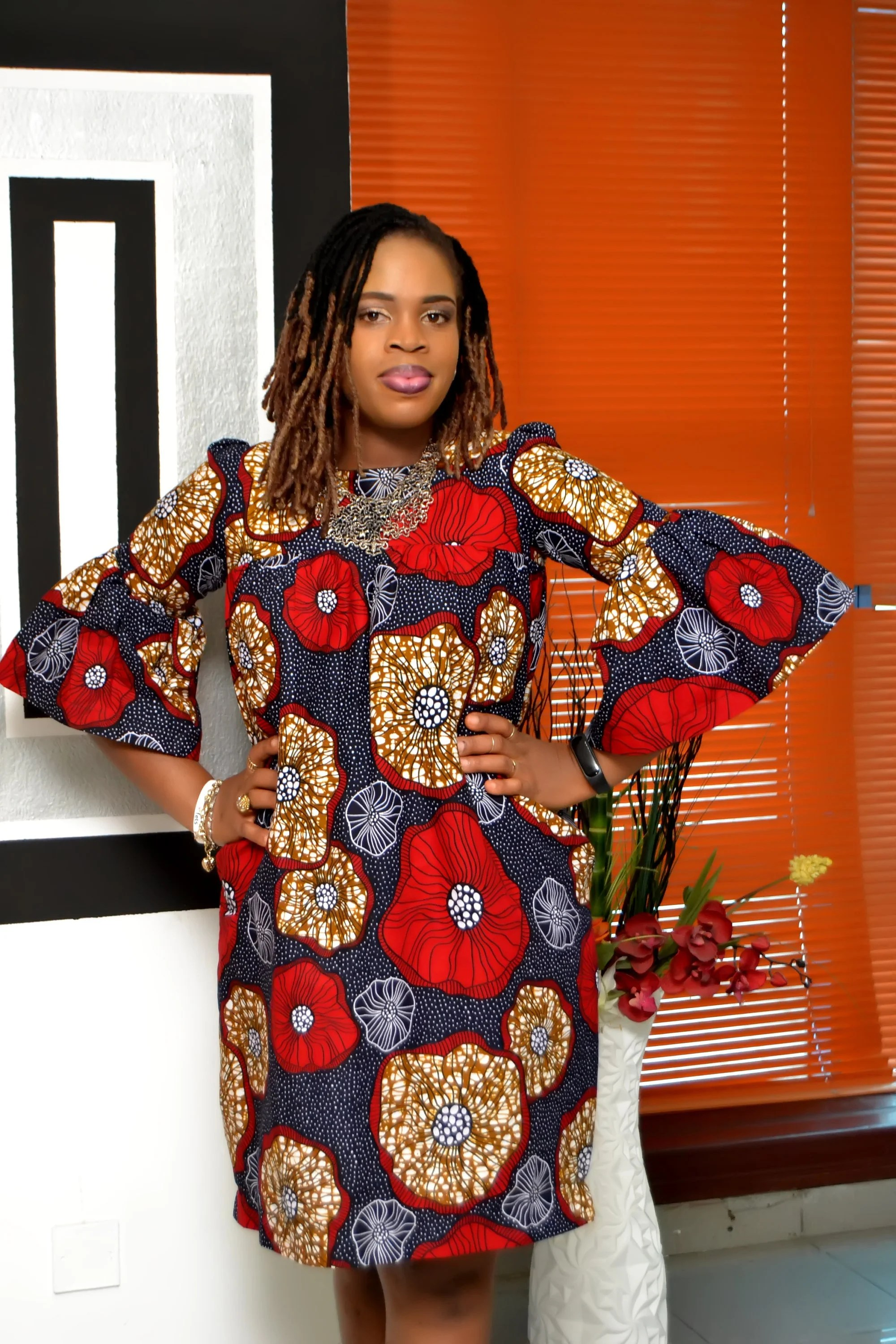 African Long Sleeve Maternity Dress