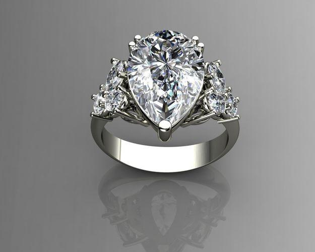 Pear Shaped Diamond Ring 3d Printable Model Cgtrader