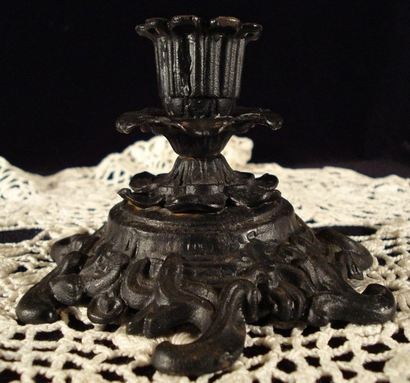 Iron Candle Cast Holders Antique Handles