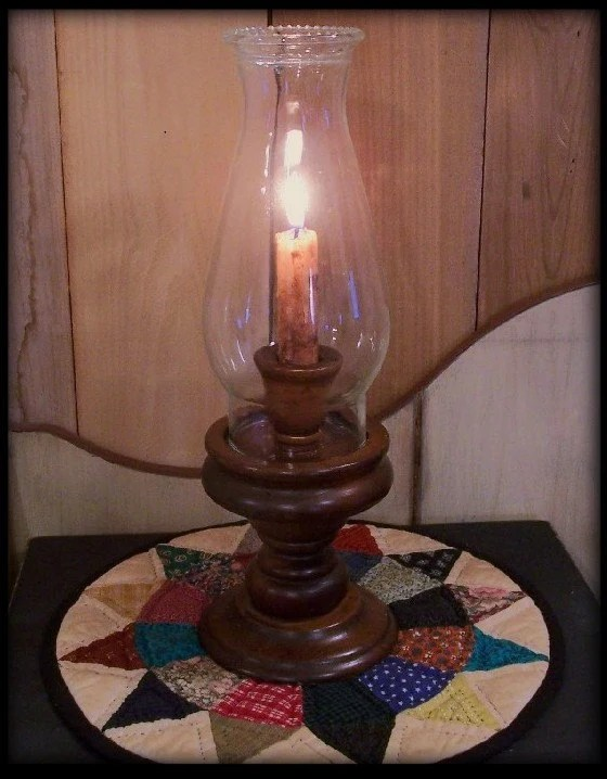 Vintage Wooden Hurricane Candle Lamp Glass Globe By