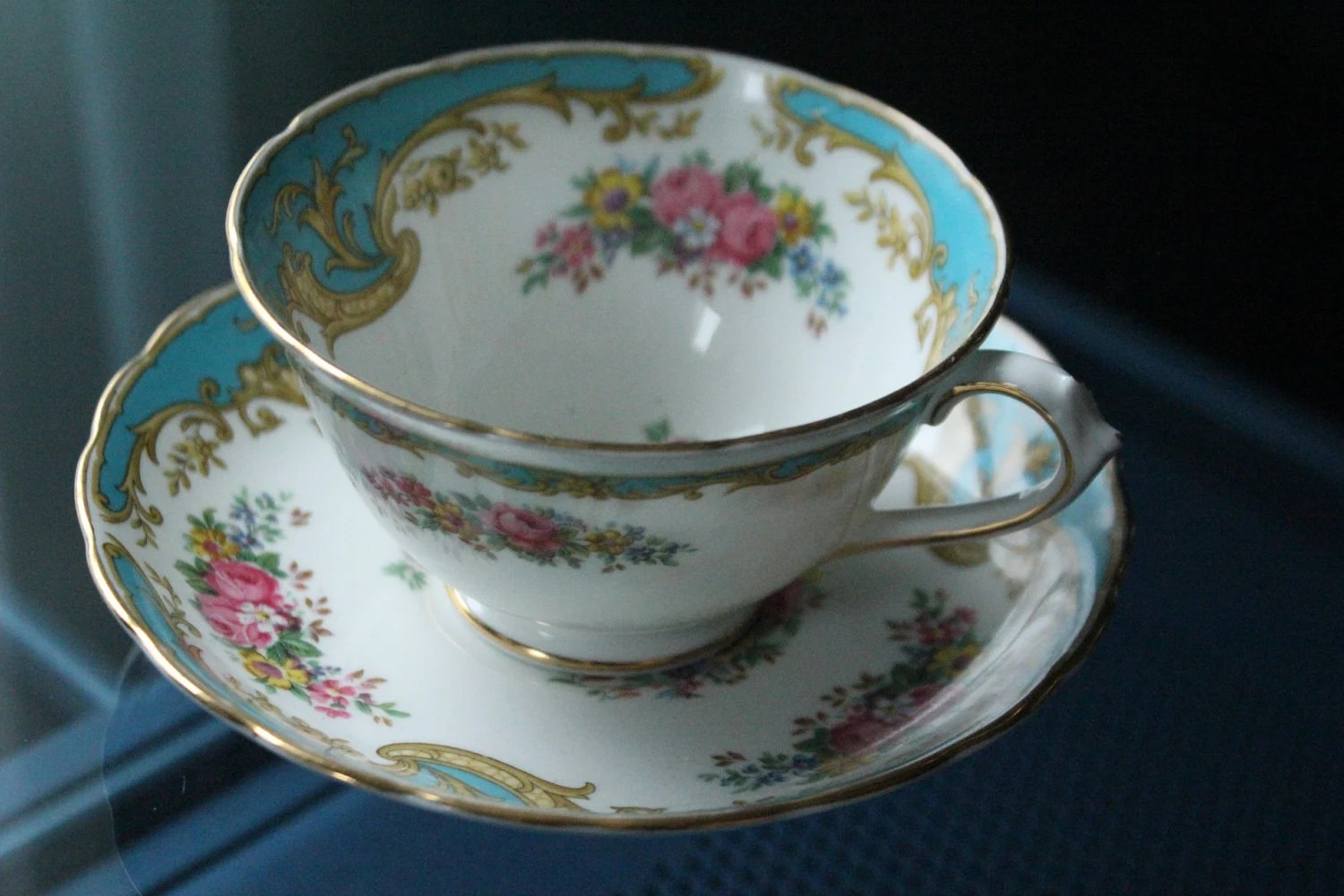 Antique Cup And Saucer Tuscan Fine Bone China Made In