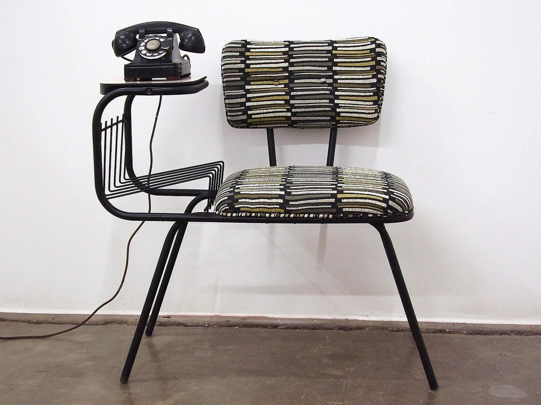 Vintage Mid Century Wrought Iron Gossip Telephone By