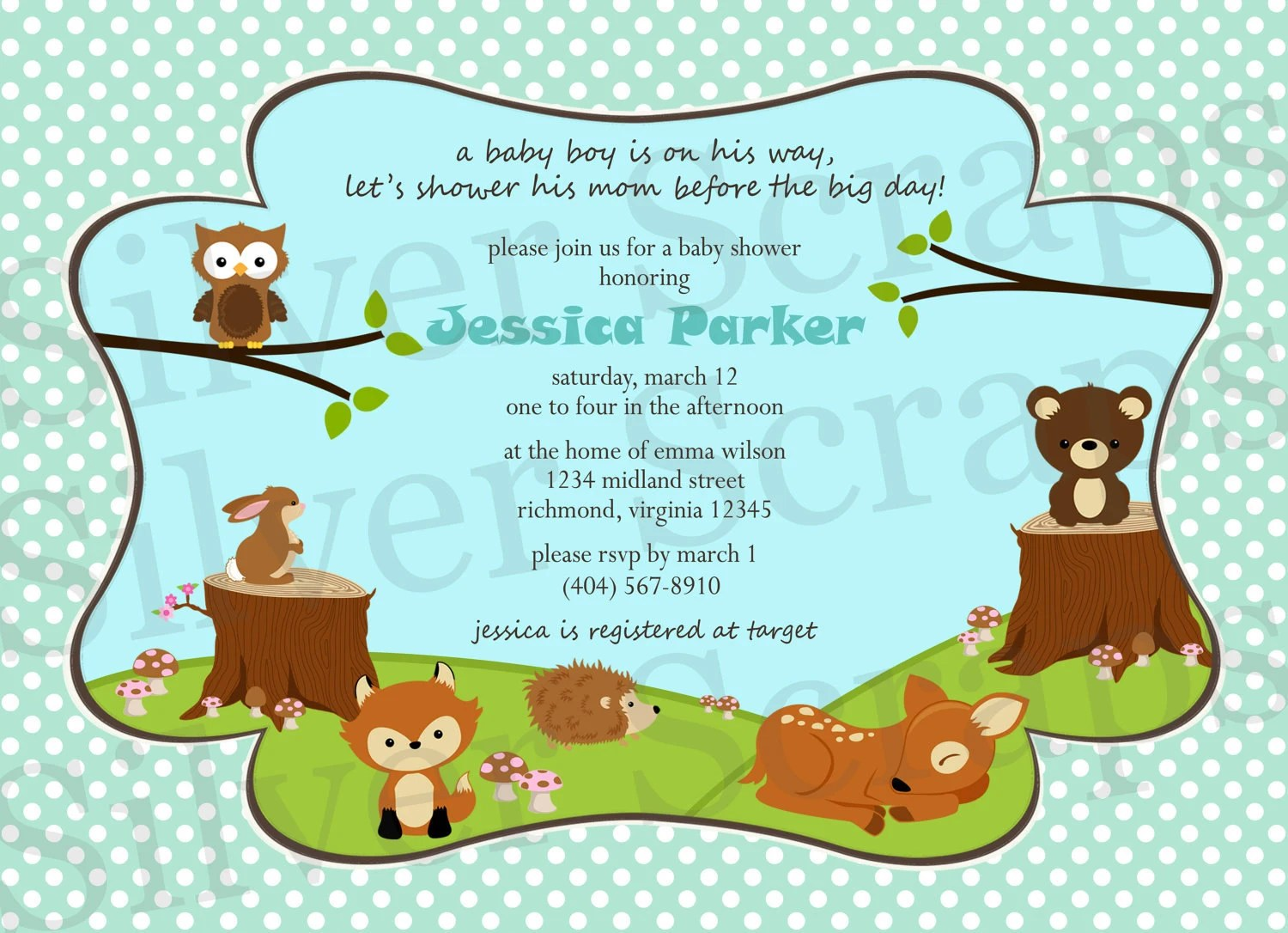 Woodland Forest Animals Custom Digital Baby Shower by ...