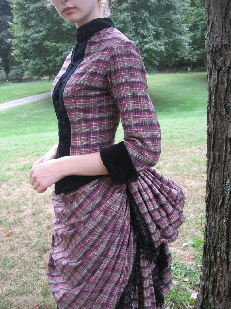 Victorian Bustle Day Dress In Cotton Plaid With Black Velvet