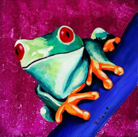Climbing Tree Frog Painting Kids Room Art Print Childrens