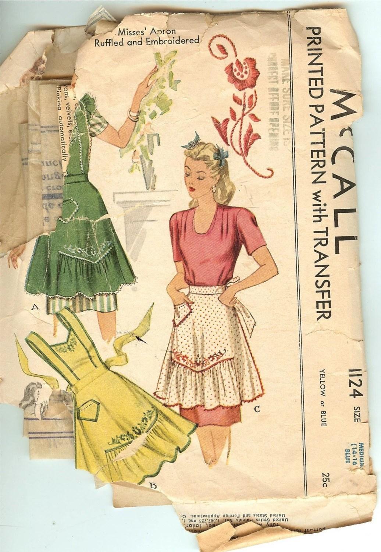 Mccall S 1124 Vintage Apron Pattern 1940 S War Time