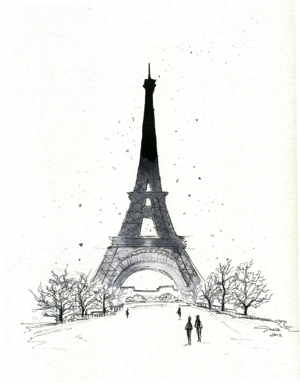 Watercolor and Pen Paris in the Winter print