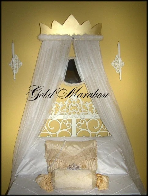 Princess Bed Canopy Crown Gold White Marabou Mosquito Net