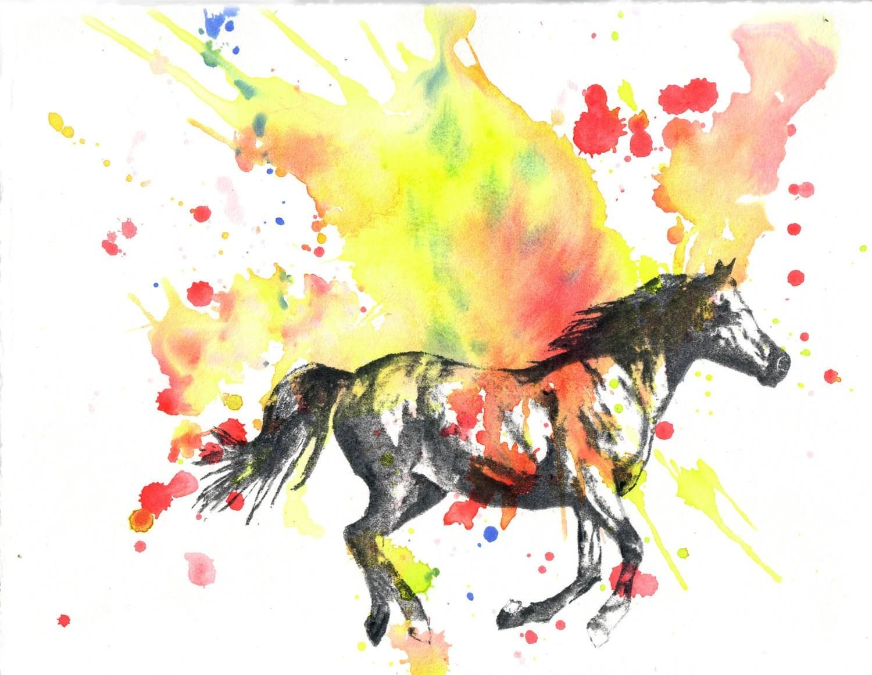 Horse Animal Watercolor Painting Original Watercolor