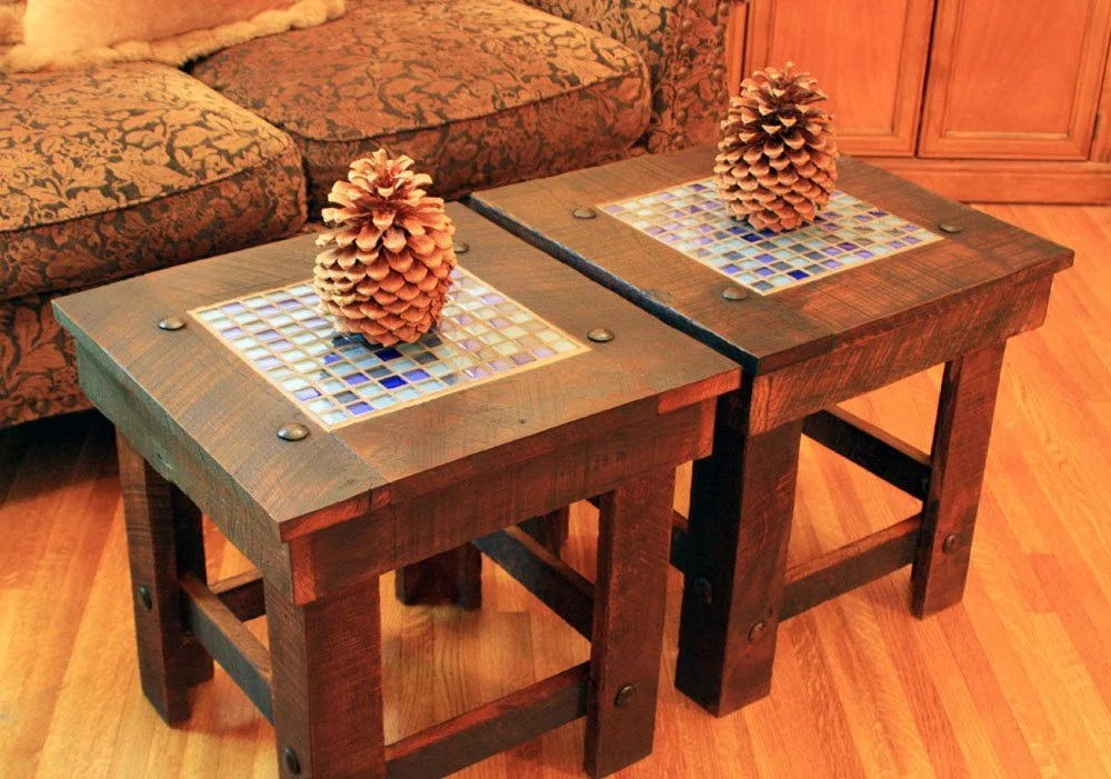 End Table Set Bunching Table W Glass Mosaic Tile Rustic