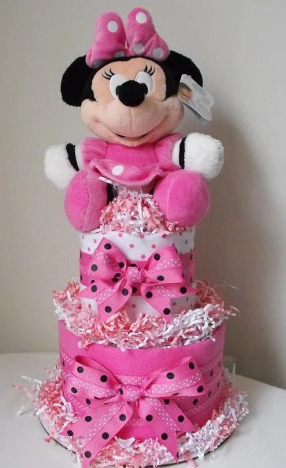 2 Tier Minnie Mouse Diaper Cake