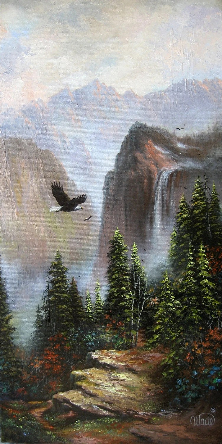 Reserved For Gayla Mountains And Eagles Original Canvas Oil