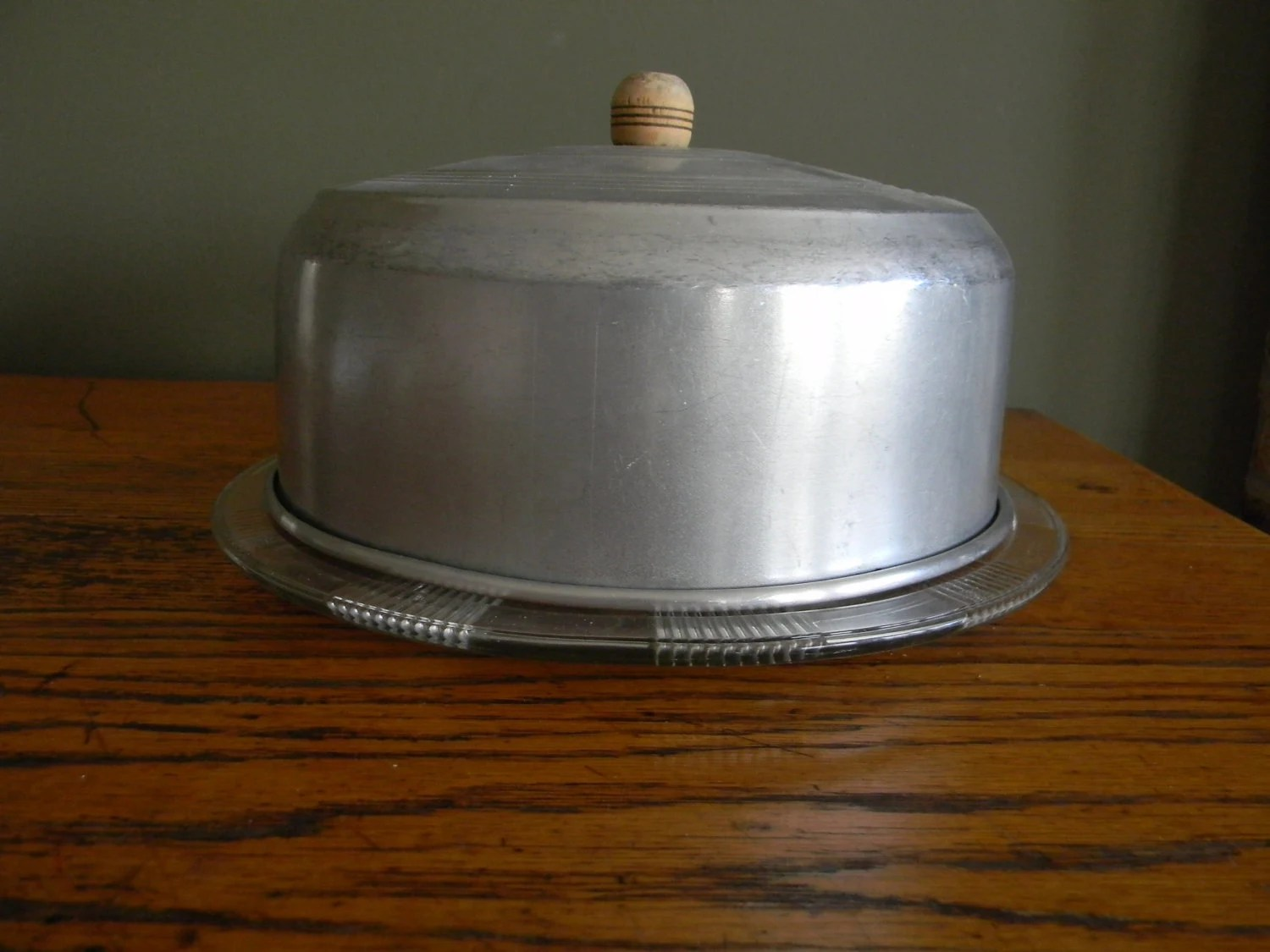 Cake Carrier Cake Taker Farmhouse Chic Vintage Metal And Glass