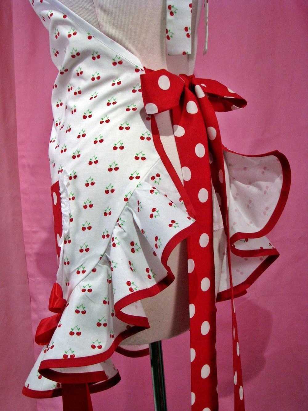 50s Pinup Apron Cutie Cherries And Dots Red And White