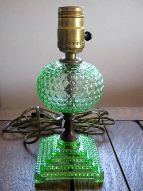 Vintage Depression Glass Green Hobnail Boudoir Dresser Lamp