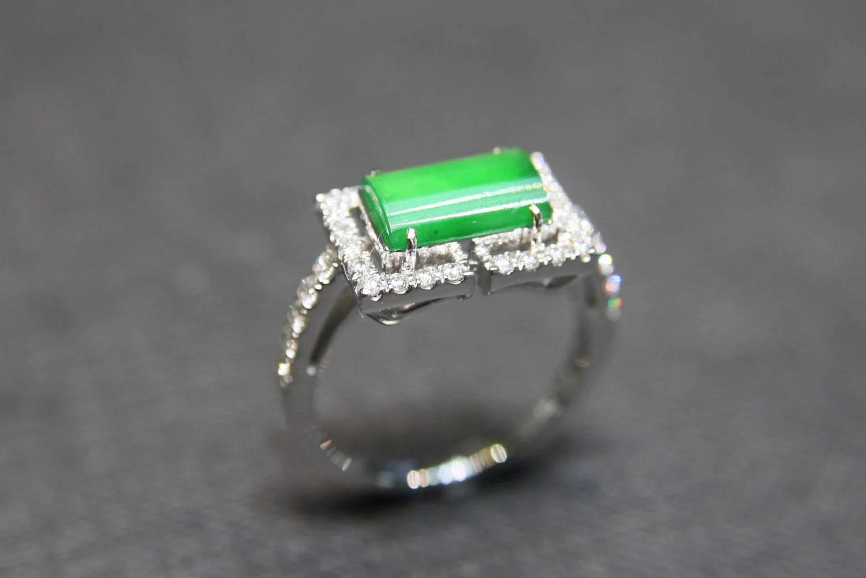 Jade Diamond Wedding Ring In 18k White Gold