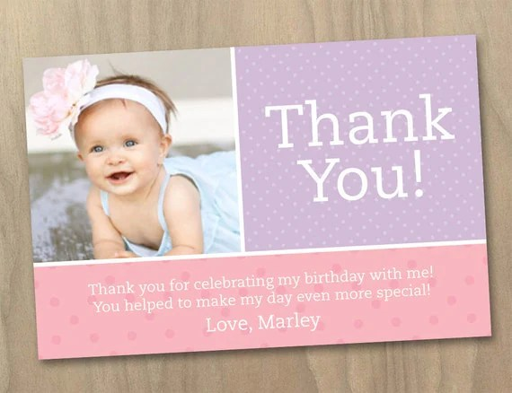 First Birthday Party Thank You Card Wording