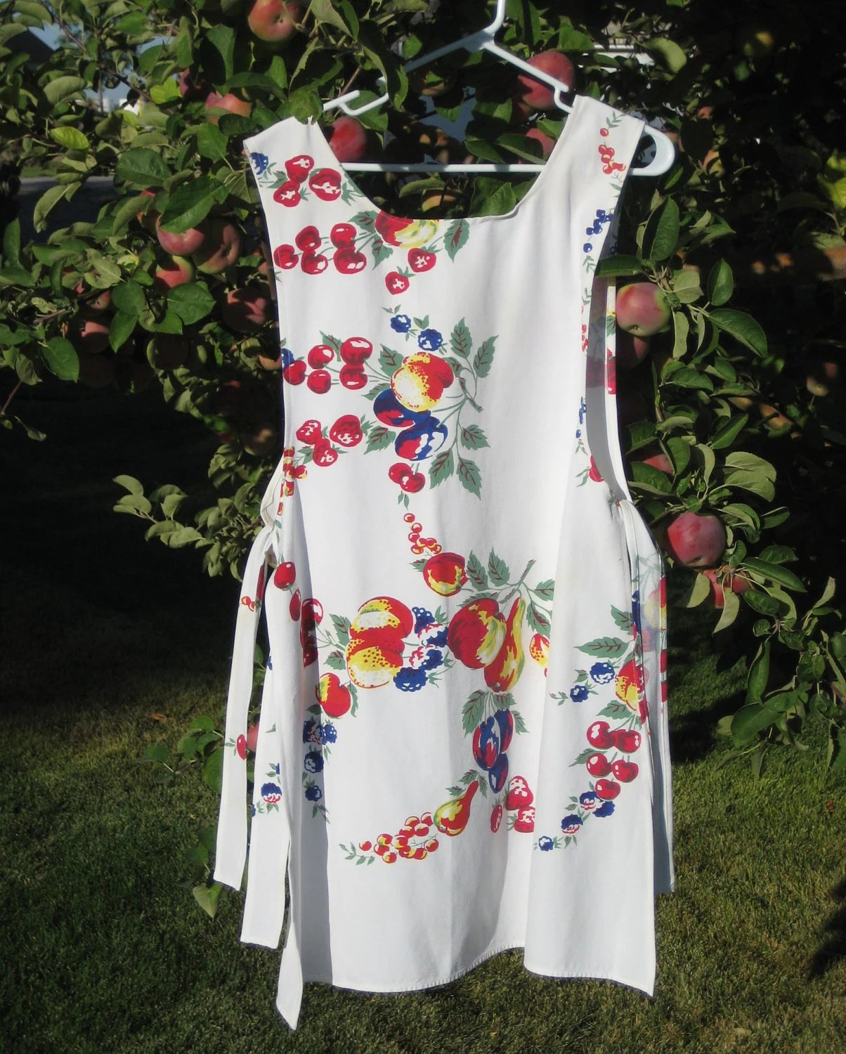 Upcycled Ladies Smock Apron With Vintage Fruit By