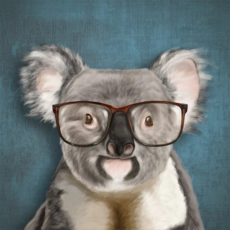 A smiling koala with glasses on blue background by SparaFuori