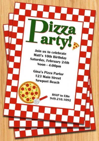 Pizza Party Invitation Template - Pizza party invitation template