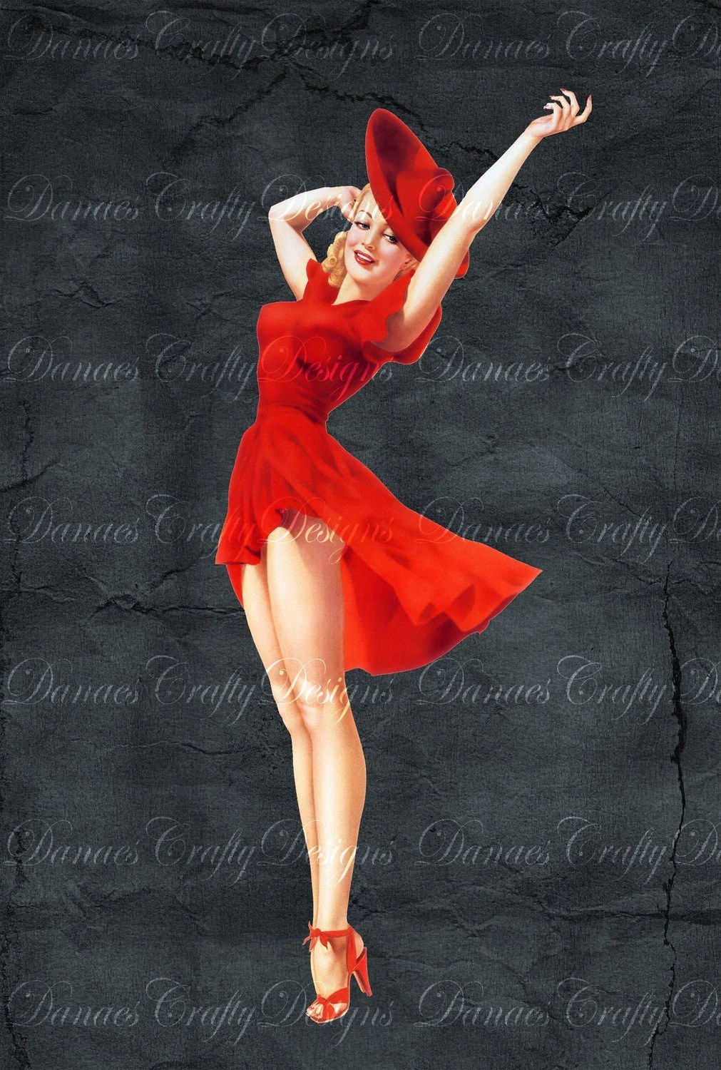 Vintage Pin Up Girl on Charcoal Background LADY IN RED PU25