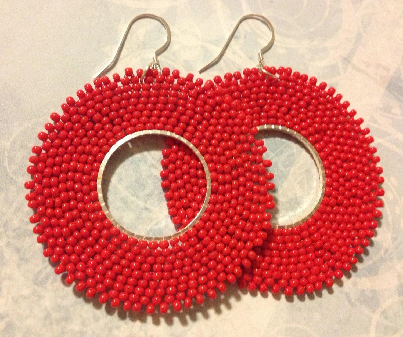 Red Hoop Earrings Seed Bead Hoops Beadwork Jewelry Beaded