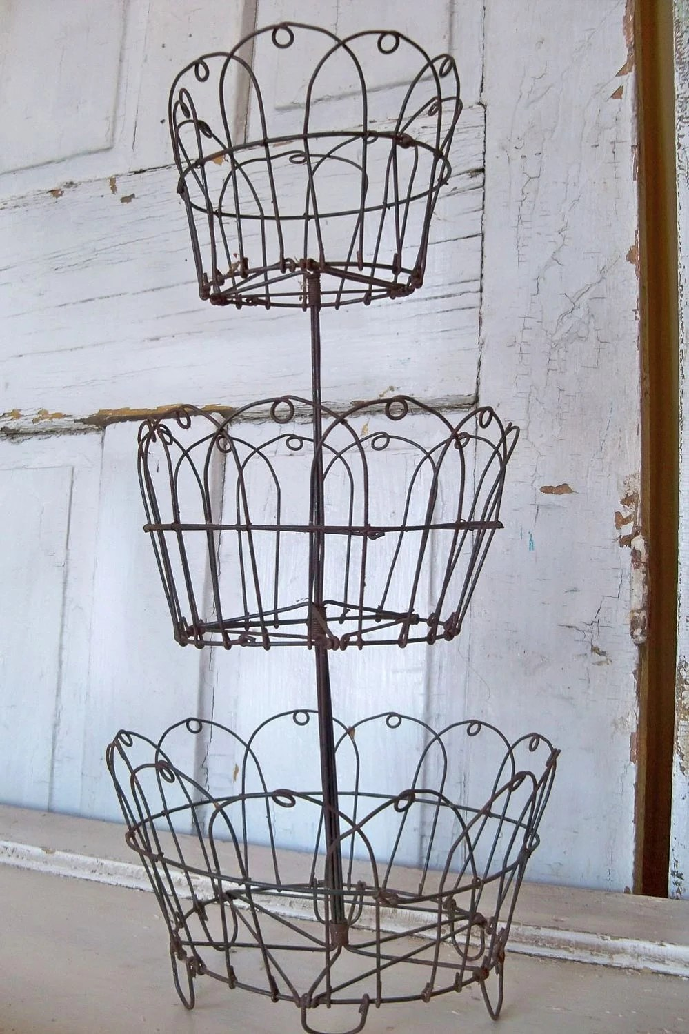 Rusty Wire Baskets Three Tiered Metal Display Vintage French