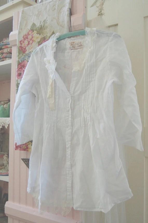 Airy Feminine Cotton Batiste Tunic Top Blouse Shabby Chic