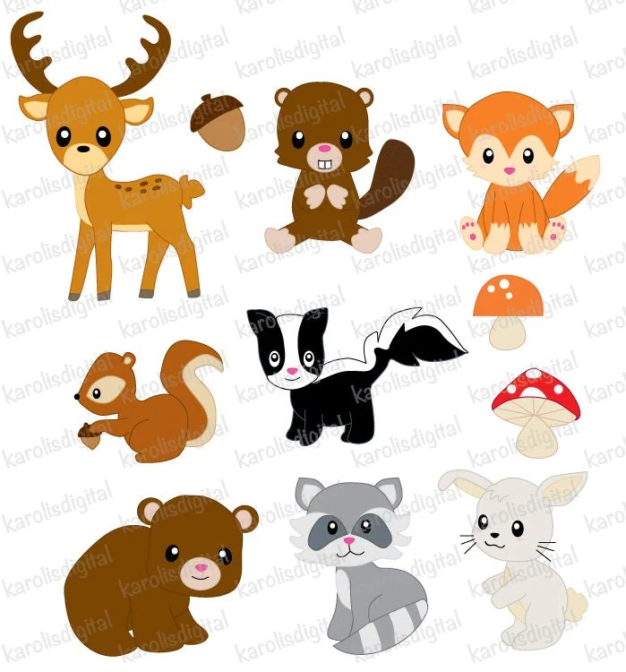 Forest animals clip art set