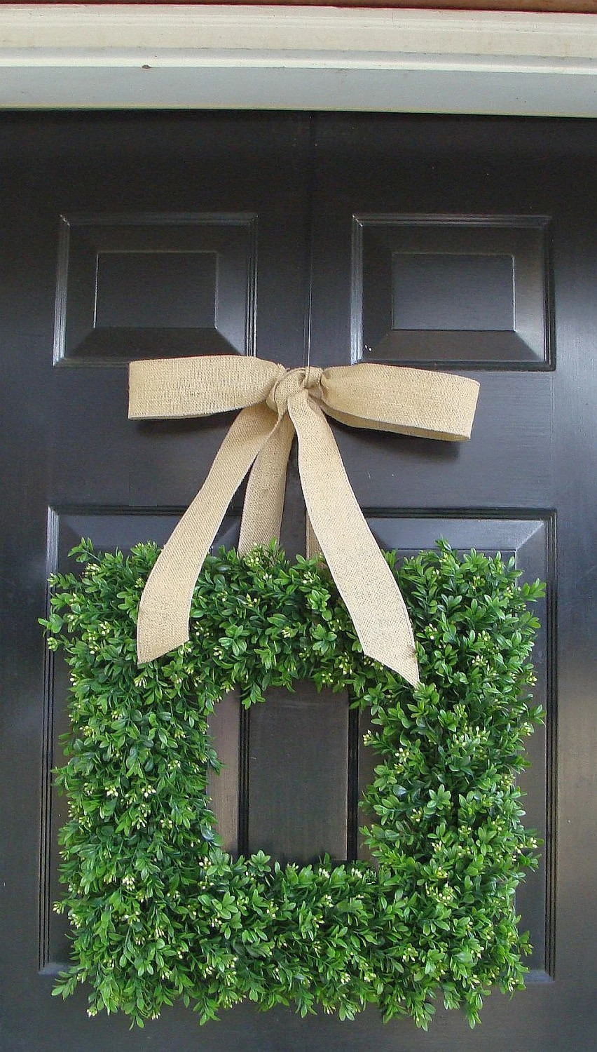 Square Boxwood Wreath Artificial Boxwood Wreath with Burlap