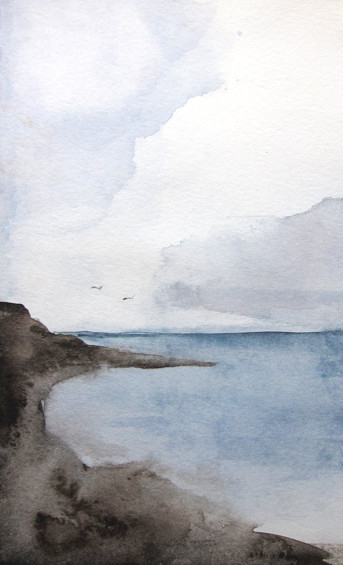 Sea Ocean Landscape Painting Original 5x7 by MaiAutumn on Etsy