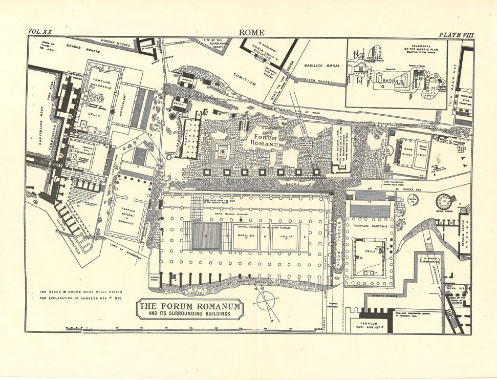 Items similar to old map of the Roman Forum, Forum Romanum ...