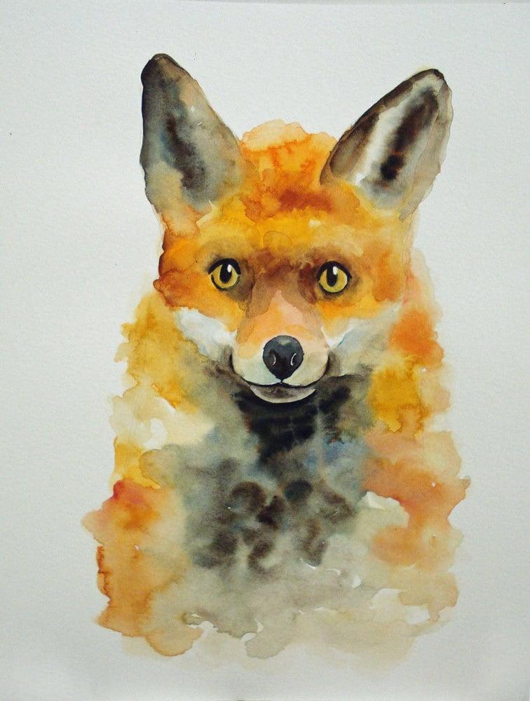 FOX by DIMDIart Original watercolor painting 11X14inch