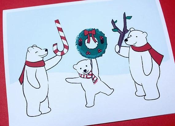Cute Christmas Card Set Polar Bear Holiday Cards Set of 6